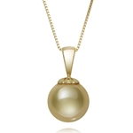 9.0 - 10.0 mm Golden South Sea Cultured Pearl Pendant