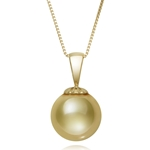 10.0 - 11.0 mm Golden South Sea Cultured Pearl Pendant